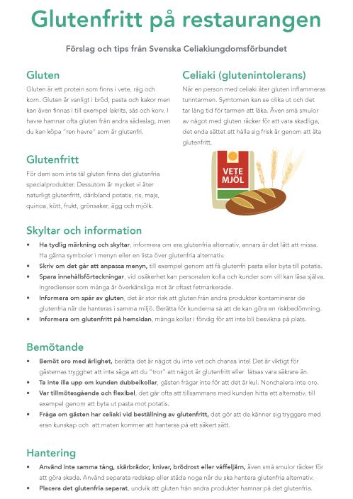 Informationsblad till restauranger om glutenfritt