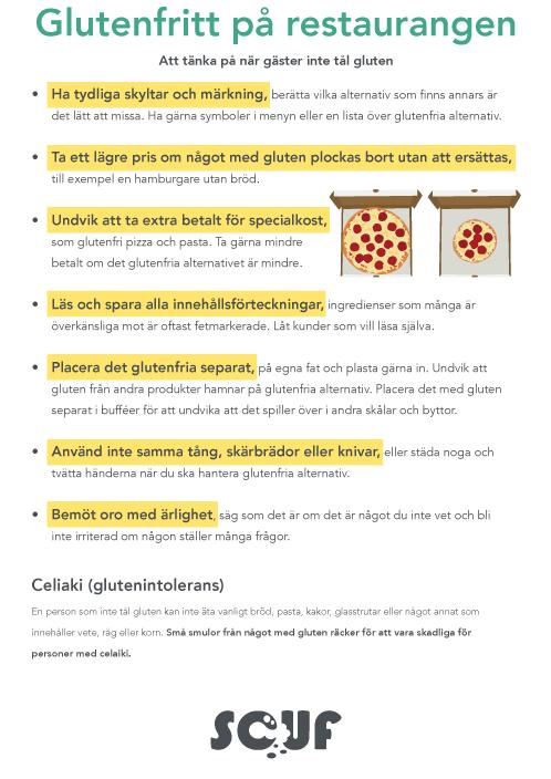 Poster om glutenfritt till restauranger