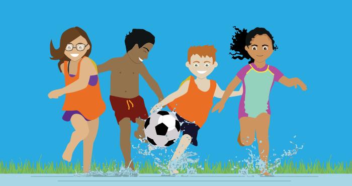illustration sommarläger såpafotboll