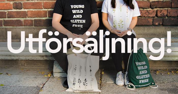 Utförsäljning av t-shirts och kassar